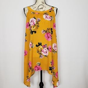 Torrid Yellow Floral Sleeveless Hi-Lo Tunic  SZ 3